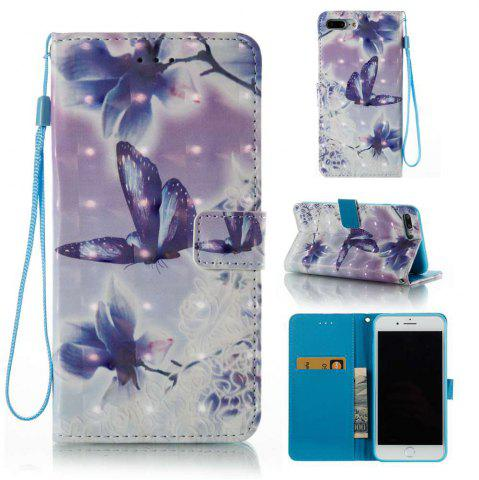 Fashion Butterfly Flowers 3D Painted PU Phone Case for iPhone 7 Plus