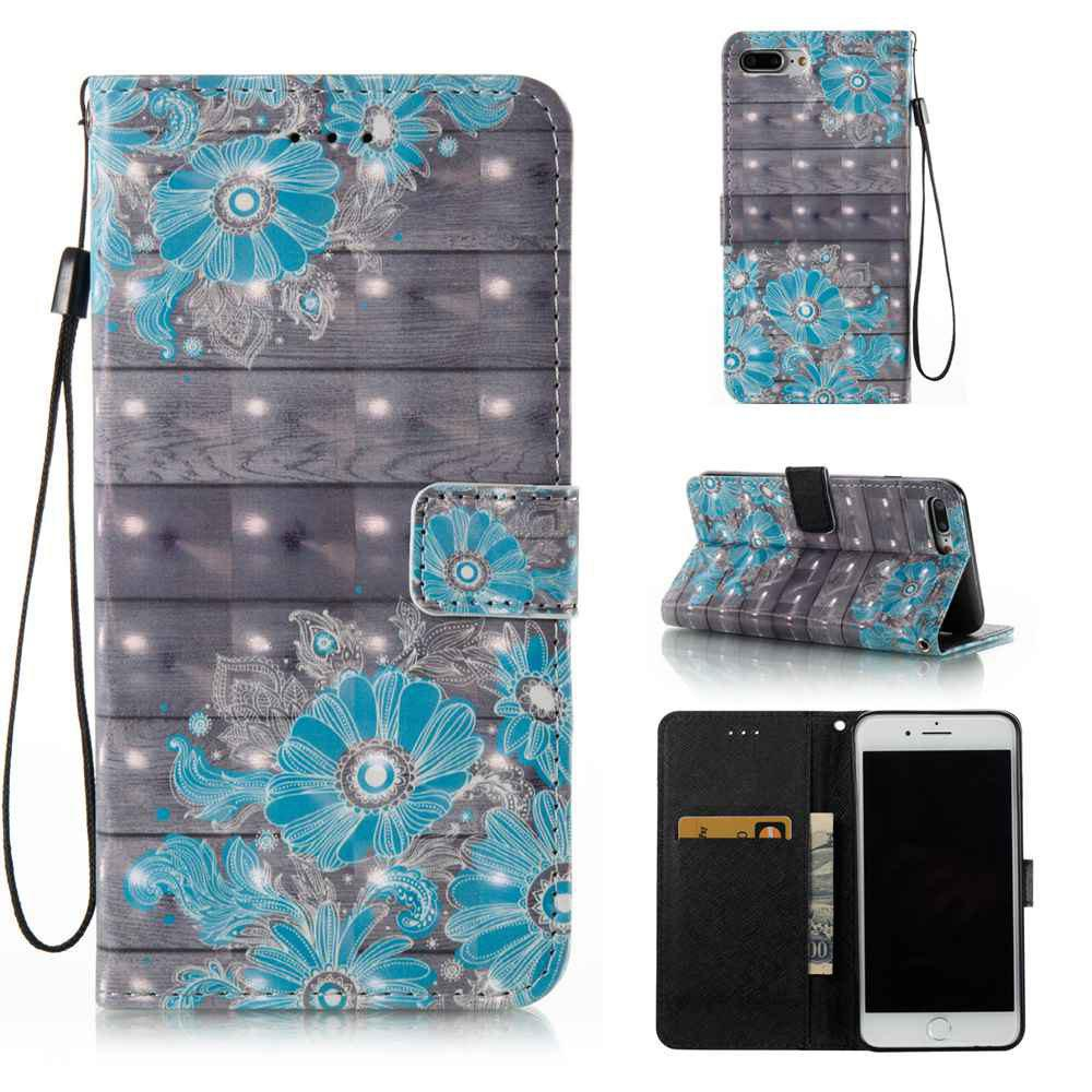 Store Blue Flower 3D Painted PU Phone Case for iPhone 7 Plus