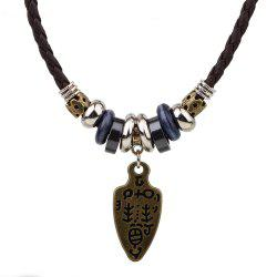 Vintage Adjustable Braided Leather Tribal Sword Pendant Necklace -