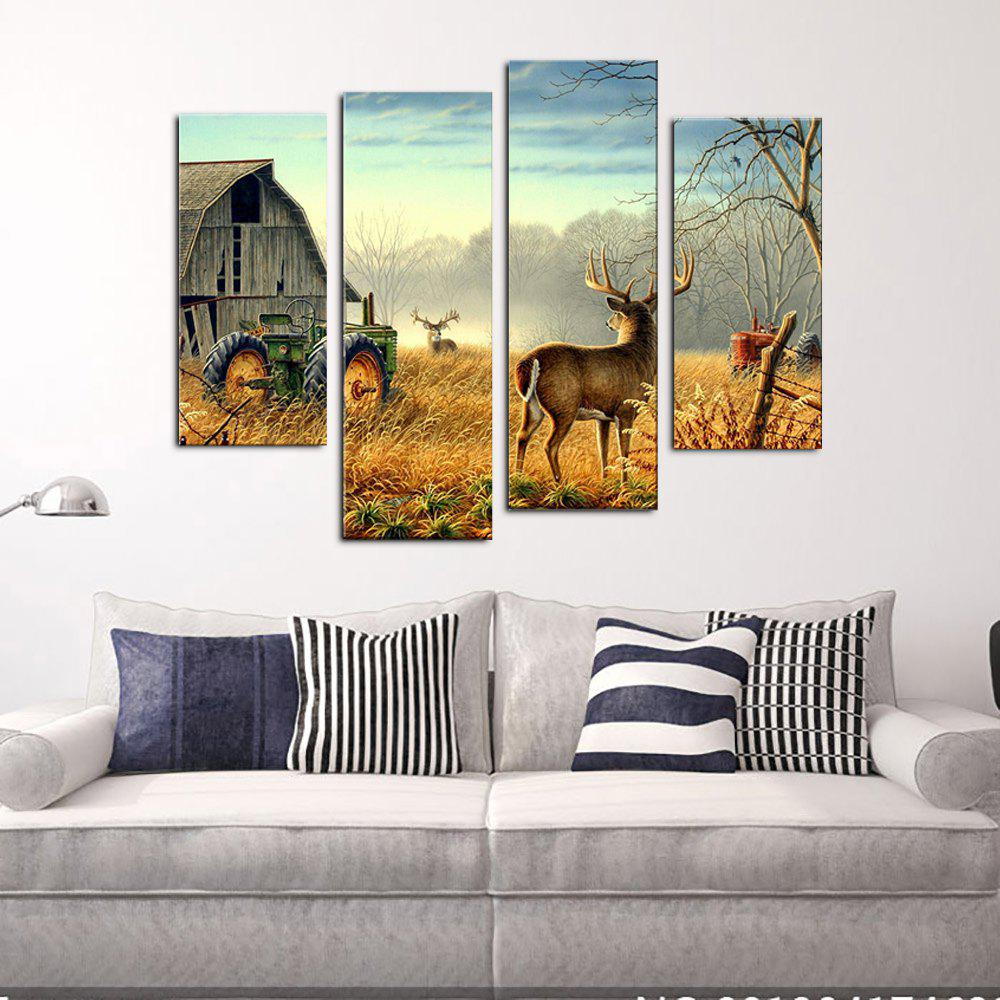 YHHP 4 Panels Farm Milu eer Landscape Picture Print Modern Wall Art on Canvas Unframed