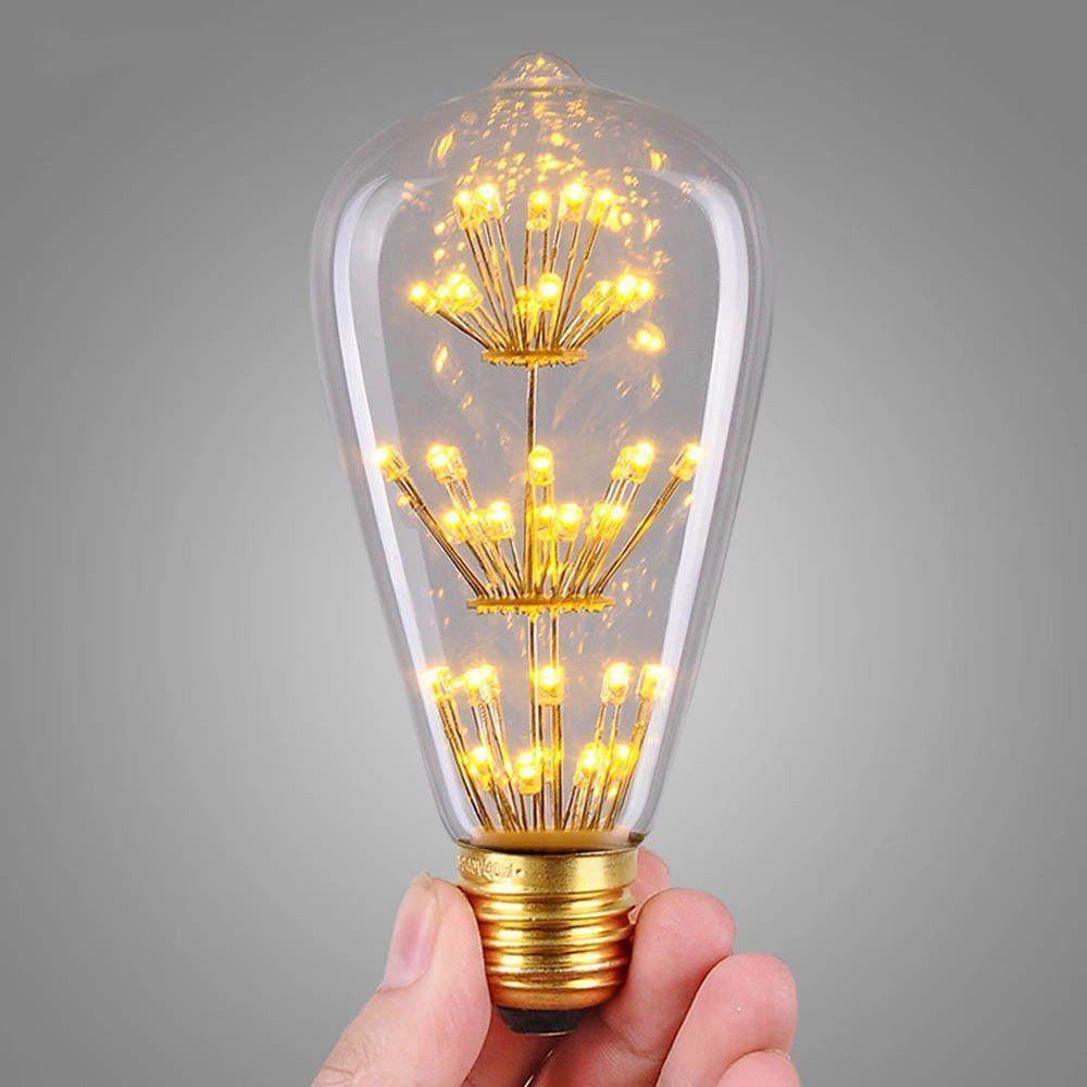 Fashion SUPli 1Pack Vintage Edison Bulbs AC 220V - 240V 3W Bright Starry Style Squirrel Cage Light Bulb for Home Lamp Lighting Fixtures Decorative Antique Filament Nostalgic Glass E27 Medium Base Warm Yellow