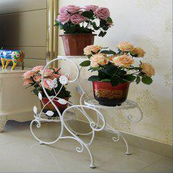White Bronze Three Layers Iron Flower Rack -