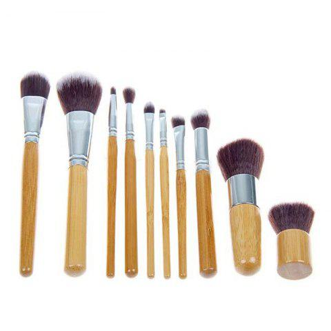 Trendy TODO 10pc Bamboo Pro Makeup Brush Set with Storage Pouch ORIGINAL WOOD COLOR