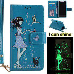Women Cat Luminous Painted PU Phone Case for iPhone X -