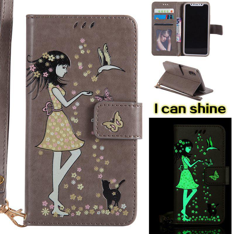 Chic Women Cat Luminous Painted PU Phone Case for iPhone X