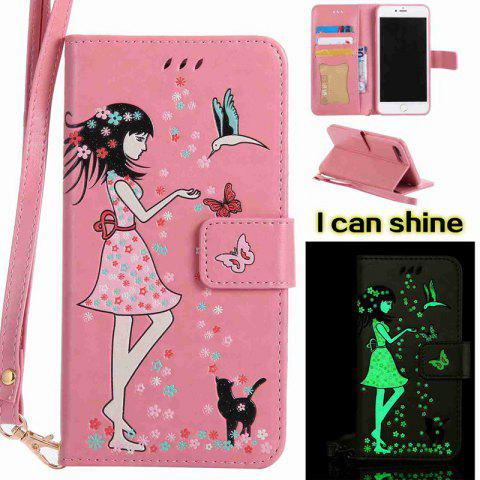 Unique Women Cat Luminous Painted PU Phone Case for iPhone 7 Plus