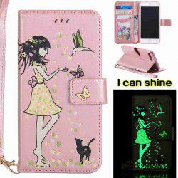 Women Cat Luminous Painted PU Phone Case for iPhone 7 Plus -