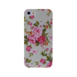 Small Fresh Vintage Floral Flower Pattern Design Plastic Hard Case Cover for iPhone SE 5S -