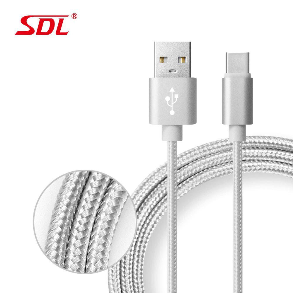 SDL Type-C Data Quick Charging Cable - 1MHOME<br><br>Color: GRAY; For: Mobile phone,Tablet; Compatible models: TYPE C; Material: Nylon; Style: Grid Pattern; Product weight: 0.0235 kg; Package weight: 0.0264 kg; Package size (L x W x H): 16.00 x 12.50 x 2.00 cm / 6.3 x 4.92 x 0.79 inches; Package Contents: 1 x Data Cable    1 x PP Bag;
