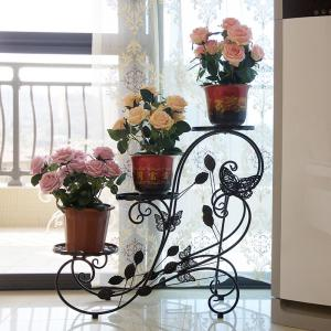 Three Layers Decorative Metal Garden Flower Pots Display Stand Iron Flower Rack -