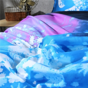2pcs Fashion Personalized 3D Polyester  Bedding Set Twin - SEA BLUE