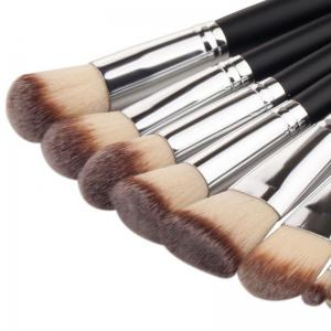 TODO 10pcs Pro Makeup Brush Soft Synthetic Black Silver - BLACK SILVER