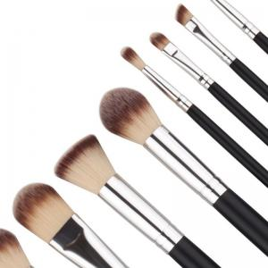 TODO 10pcs Pro Makeup Brush Soft Synthetic Black Silver -