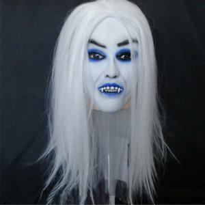Yeduo Horrible Toothy White Long Hair Ghost Face Latex Soft Mask Halloween Party Prop Costume Mus - MULTICOLOR