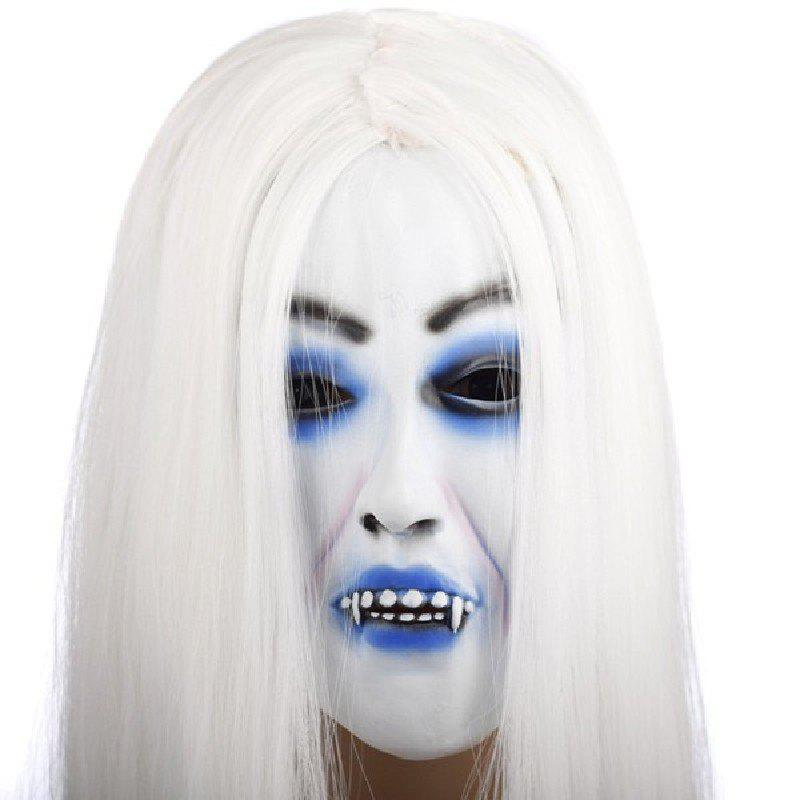Cheap Yeduo Horrible Toothy White Long Hair Ghost Face Latex Soft Mask Halloween Party Prop Costume Mus