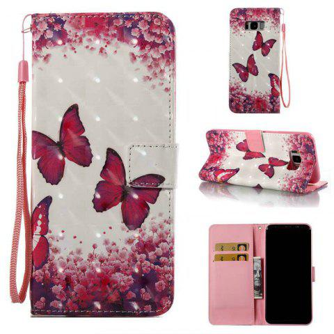 Fashion Rose Butterfly 3D Painted PU Phone Case for Samsung Galaxy S8 Plus