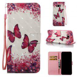 Rose Butterfly 3D Painted PU Phone Case for Samsung Galaxy S8 Plus -