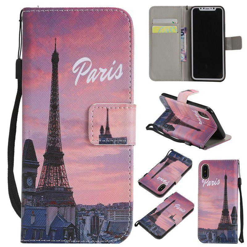 Latest Eiffel Tower Painted PU Phone Case for iPhone X