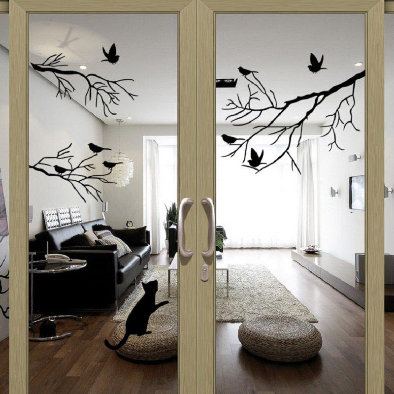 Bird Tree Branch Wall Stickers Wall Decal Removable Art Home MuralHOME<br><br>Color: BLACK;