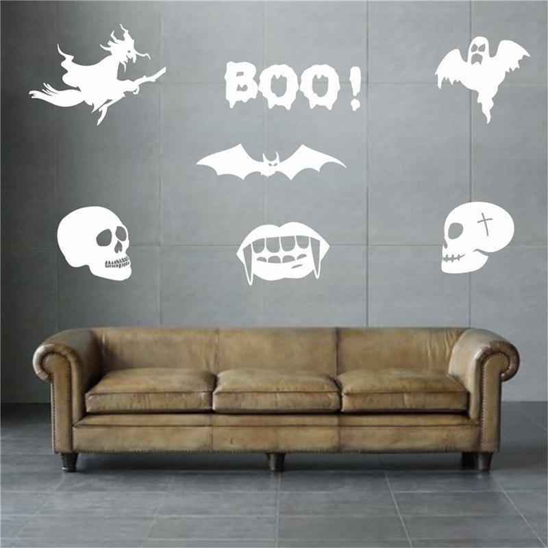 Blanc d coration halloween d coration murale amovible pour for Decoration murale halloween