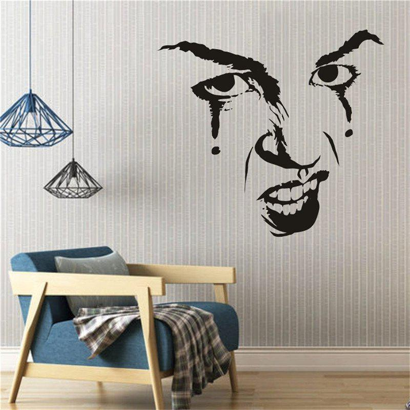 Black Halloween Decoration Horror Face Removable Wall Sticker For ...