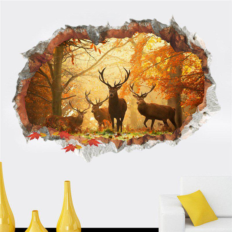 Home Decoration 3D Broken Wall Elk Forest Removable Wall Stickers for DecorHOME<br><br>Color: COLORMIX;