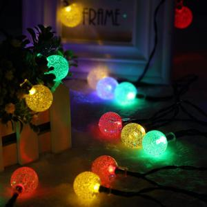 KWB LED Solar String Lights 7M 50 Balls LED Crystal Ball Waterproof Outdoor String Lights - RGB COLOR