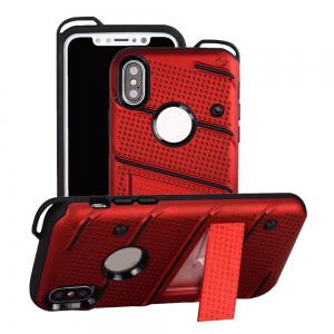 Wkae Weaving Pattern PU Leather Case Cover Kickstand for iPhone X -