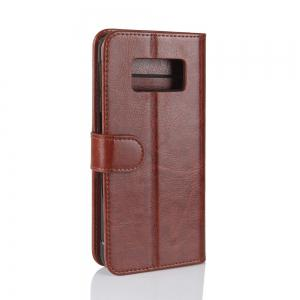 Durable Crazy Horse Pattern Back Buckle Flip PU Leather Wallet Case for Samsung Galaxy S8 Active -