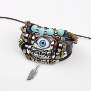 Fashion Tibetan Adjustable Turkish Evil Eye Charms Leather Bracelet -