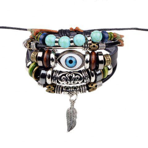Shop Fashion Tibetan Adjustable Turkish Evil Eye Charms Leather Bracelet