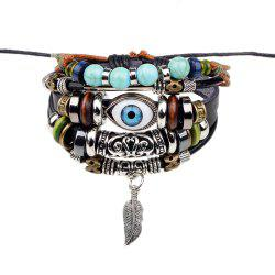 Fashion Tibetan Adjustable Turkish Evil Eye Charms Leather Bracelet - BLACK