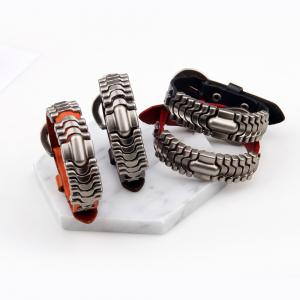 Adjustable Mens Alloy Leather Cuff Bracelet with Buckle Clasp - RED