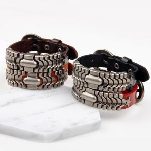 Adjustable Mens Alloy Leather Cuff Bracelet with Buckle Clasp - BROWN