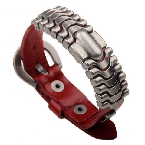 Discount Adjustable Mens Alloy Leather Cuff Bracelet with Buckle Clasp RED