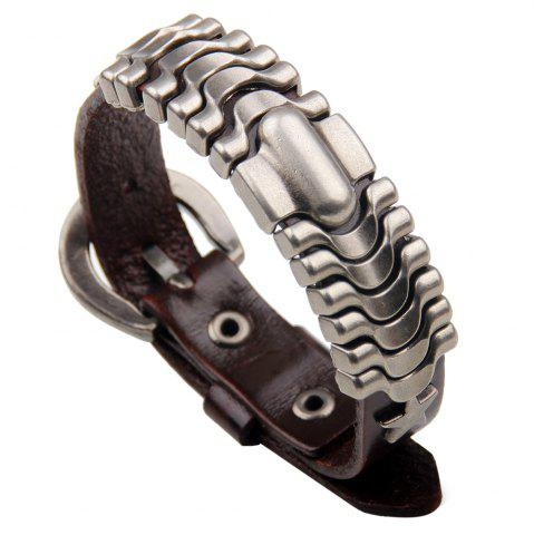 Affordable Adjustable Mens Alloy Leather Cuff Bracelet with Buckle Clasp BROWN
