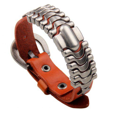 New Adjustable Mens Alloy Leather Cuff Bracelet with Buckle Clasp ORANGE