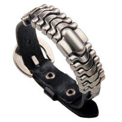 Adjustable Mens Alloy Leather Cuff Bracelet with Buckle Clasp -