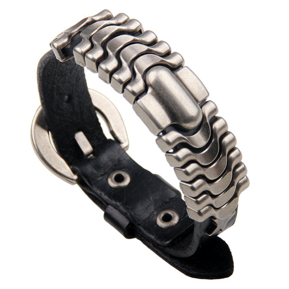 Best Adjustable Mens Alloy Leather Cuff Bracelet with Buckle Clasp