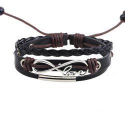 Fashion Infinity Love Charm Adjustable Braided Leather Bracelet -