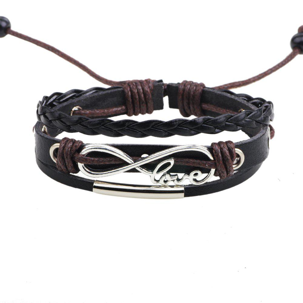 Hot Fashion Infinity Love Charm Adjustable Braided Leather Bracelet