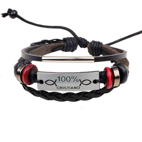 Affordable Fashion Adjustable Cristiano Charm Braided Leather Wrap Bracelet - SILVER  Mobile