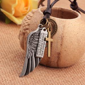 Fashion Angel Wing Cross Charm Pendant Leather Necklace -