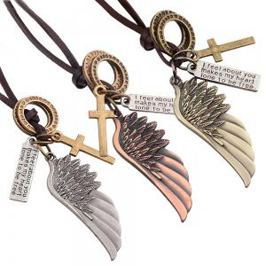 Fashion Angel Wing Cross Charm Pendant Leather Necklace - COPPER