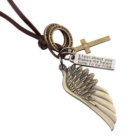 Online Fashion Angel Wing Cross Charm Pendant Leather Necklace - BRONZED  Mobile
