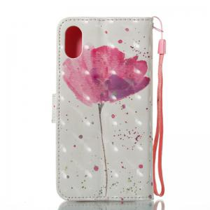 A Flower 3D Painted Pu Phone Case for iPhone X -