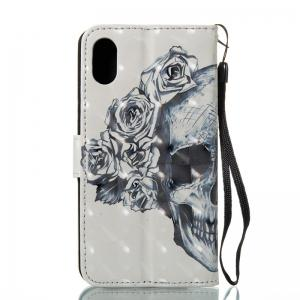 Skull 3D Painted Pu Phone Case for iPhone X -