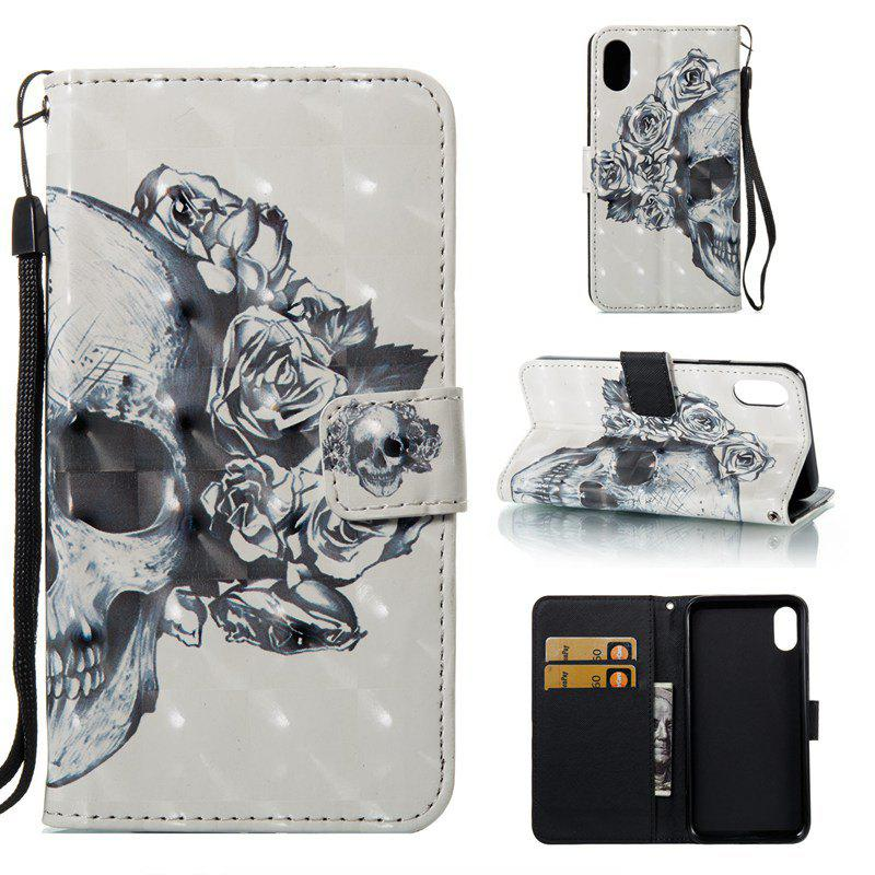 Fancy Skull 3D Painted Pu Phone Case for iPhone X