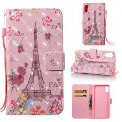 Butterfly Tower 3D Painted Pu Phone Case for iPhone X -
