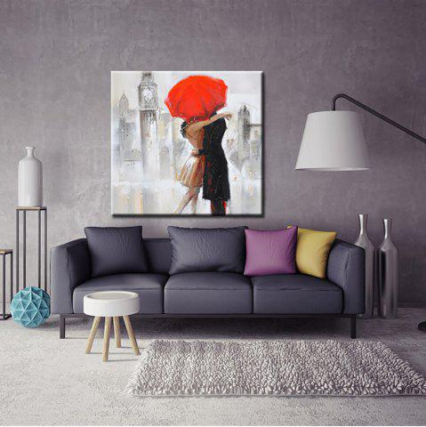 Yhhp Hand Painted Abstract Lovers Who Embrace In The Rain Oil Painting